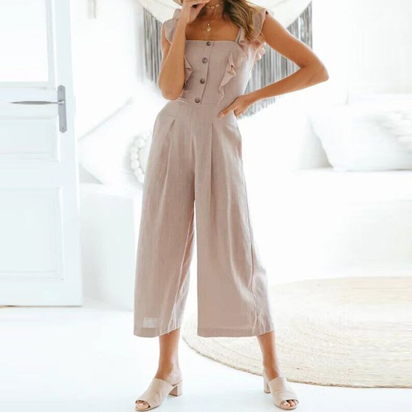 Women Summer Cami Jumpsuit Sleeveless Button Placket Jumpsuits Ruffled Casual Elegant Women Jumpsuits Free Shipping