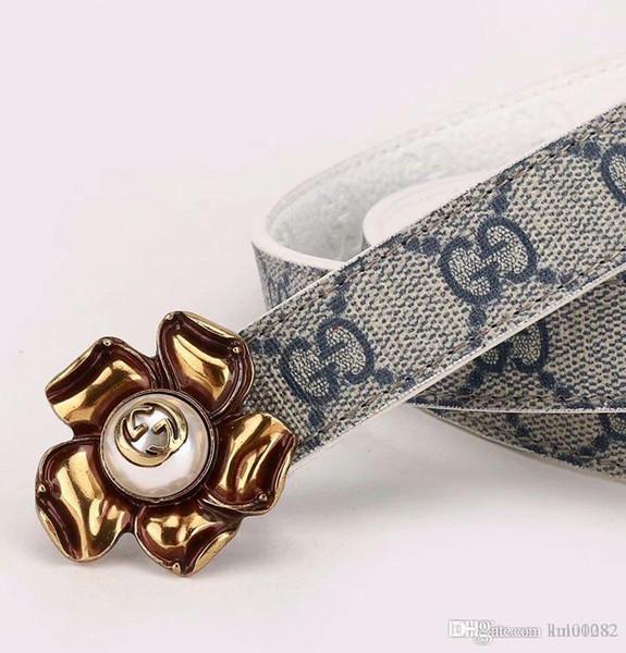 Männer und Frauen, Qualität Legierung Perle Blume Schnalle, Modedesigner Name Marke High-End-Herrengürtel teure reale Güter kostenlose Lieferung