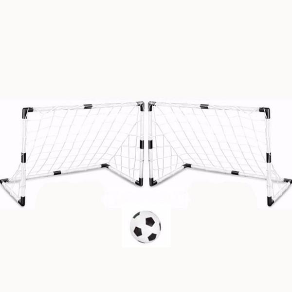 2 Sets DIY Niños Deportes Soccer Goals con Balón de Fútbol y Bomba Práctica Scrimmage Juego Football Gate DIY Blanco