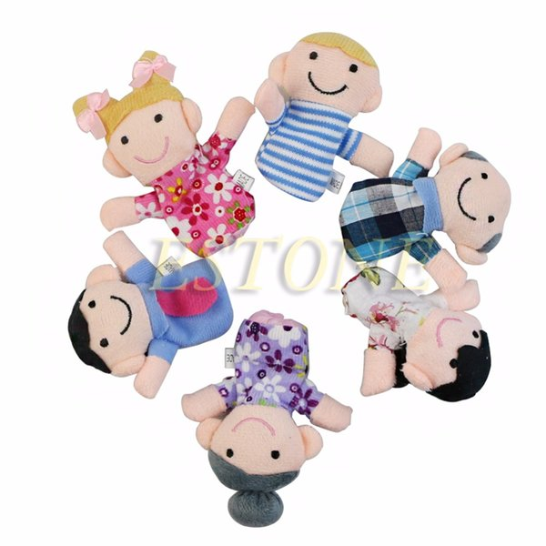 Puppet Toy 6Pcs Baby Kids Plush Cloth Doll Play Learn Story Game Family Finger Puppets Toys KidS Gift