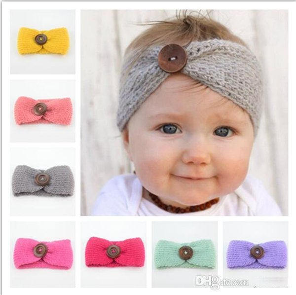 New Handmade Baby Knitting Crochet Headband Fashion Boys Girls Headbands Ear Warmer With Button Children Hair Accessories TO394