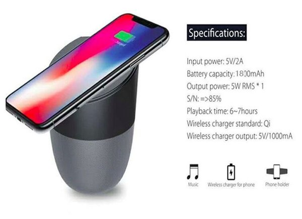 Wireless Charger With Bluetooth Speaker Qi-enabled Fast Charging For Cell Phone Stereo Music Portable Subwoofers With Retail Package