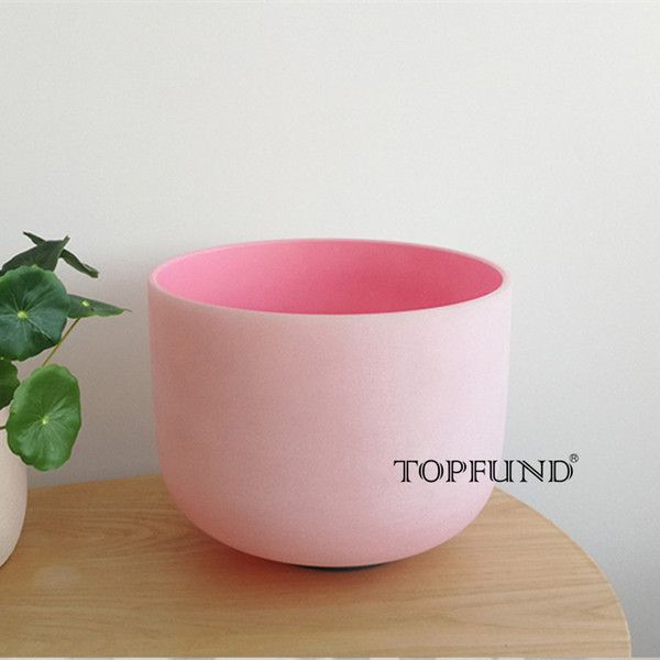 TOPFUND F Note Heart Chakra Pink Colored Frosted Quartz Crystal Singing Bowl 8""