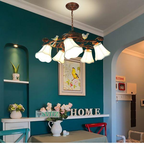 American Style Pine Cones Decke Kronleuchter Schlafzimmer Wohnzimmer  LED Leuchten Mediterranen Garten Retro Restaurant Hängen