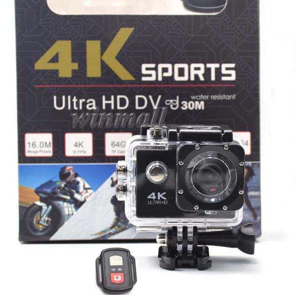 La cámara de acción 4K más barata con control remoto 1080P Full HD Cámara deportiva Impermeable DV Venta al por menor Paquete completo Accesorios completos