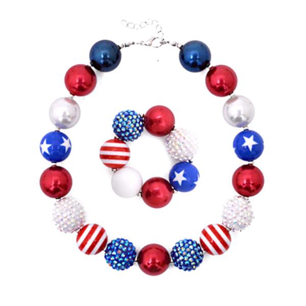 2 pcs Coréia Plástico Bandeira Americana Colar Pulseira Crianças Caçoa Conjuntos de Jóias Para A Menina