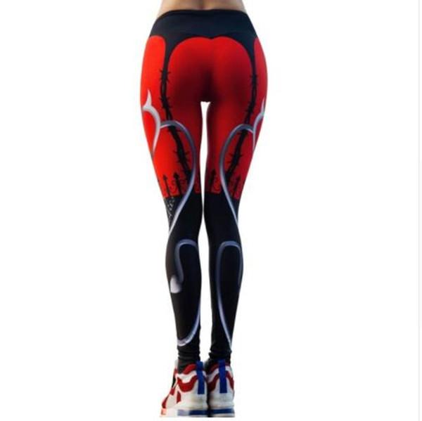 Yüksek Kalite 2018 Seksi Kalp Baskı Tayt Kadınlar Kırmızı Siyah Patchwork Spor Pantolon Moda Baskılı kadın Spor Tayt XL