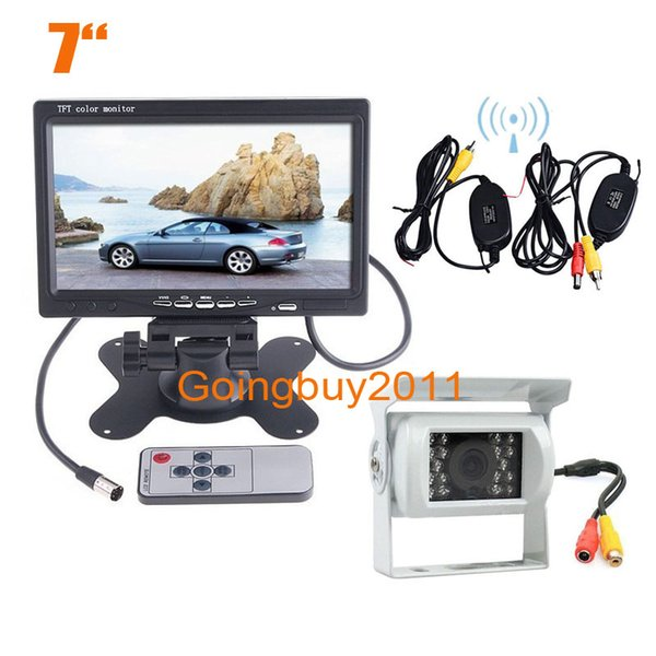 "7"" lcd monitor car rear view kit + wireless 18 led ir night nision car ccd reversing backup camera white ing"