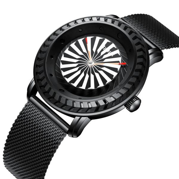 BIDEN New fashion Tourbillon Coated Glass windmill pointer Bump Case design waterproof Luxury gift dress Quartz watch