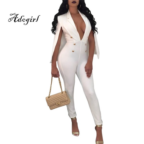 Adogirl Hot Sale 2018 Spring Fashion Women Skinny Jumpsuits with Cape Sexy Deep V Neck Plus Sizes S-2XL Long Rompers with Button