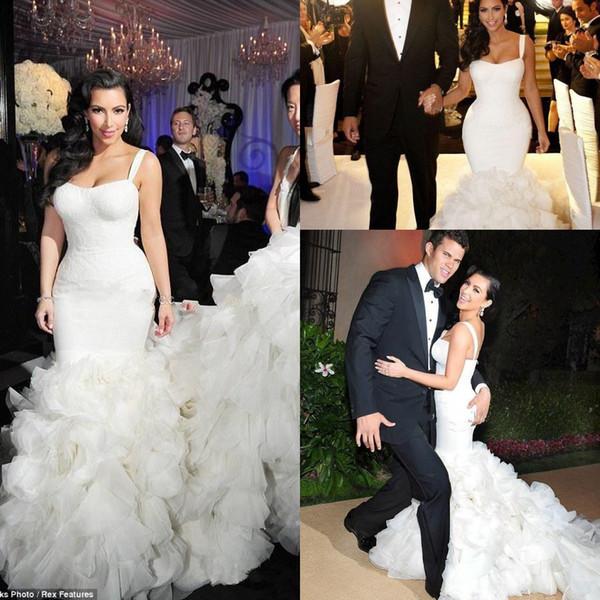 Kim Kardashian Trompette Robes De Mariée 2018 Nouveau Sexy Bretelles Spaghetti Organza À Volants Sirène Robe De Mariée En Dentelle Longueur De Plancher