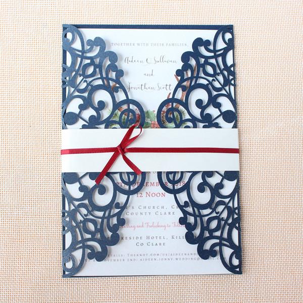 Convites De Casamento Modelo Convite De Casamento De Laser Azul Envelop Com Fita Decorada Aniversário Festa De Páscoa De Páscoa Convida Oferta