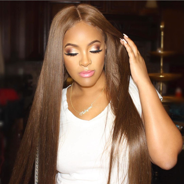 Malaysian Silky Straight Silk Base Full Lace Wig Middle Part Human Hair Wigs Glueless Silk Top Wigs Bleached Knots 130% Density