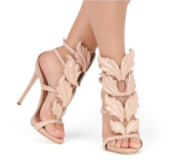 Acheter Wholesaleand 2018 Top Marque D'été Nouveau Design Femmes Mode Pas Cher Or Argent Rouge Feuille Haut Talon Peep Toe Robe Sandales Chaussures