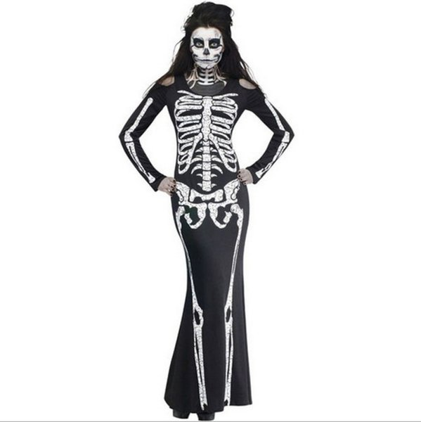 Adult Carnival Halloween Role Playing Costumes Scary Devil Witch Skull Skeleton Costume Women Nightclub Party Cosplay Dress