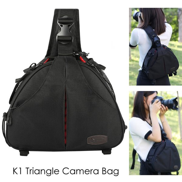 Camera DSLR Waterproof DSLR Sling Cross Body Triangle Bag Tripod Case w/ Rain Cover Women Men Soft Padded Bags for Canon Nikon
