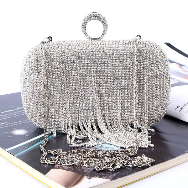 Diamond-encrusted fringe is handmade Rhinestone ring evening bag cross body Hand bag best price with best quality removable handle