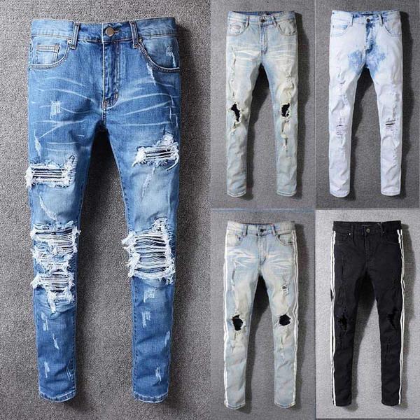 2018 nova famosa marca designer de jeans homens homens de qualidade superior de algodão rasgado jeans moda rua biker jean man plus size