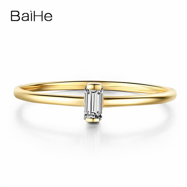 baihe solid 18k yellow gold(au585)0.05ct certified h/si round genuine natural diamonds wedding women trendy fine jewelry ring, Golden;silver