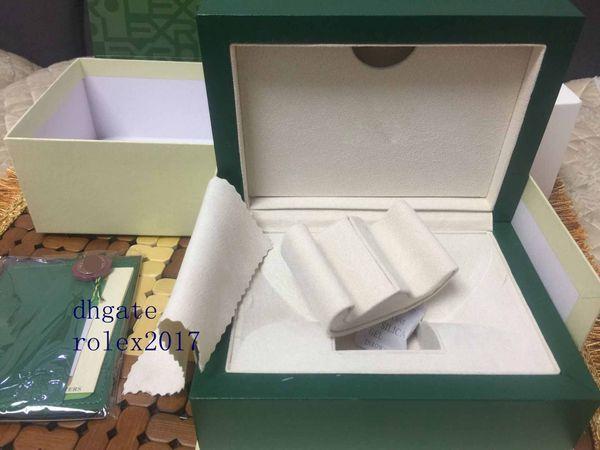 2019 Mens Com Exterior Outer Caixa De Madeira Original Assista Caixas de Papéis de Certificação Papers Cartão de Tradução Manual de Carteira 116610 116660
