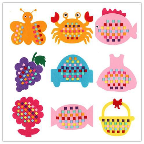 DIY Weave Material Kits Non-woven Fabric Kindergarten Art Class Handwork Toy Tool Handmade Cartoon Birthday Gifts Kid Woven Strip 18 Style