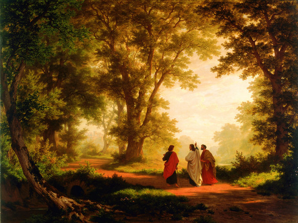 best selling HD Prints Art Oil painting Landscape Robert Zund The Road to Emmaus Reproduction Canvas Modern Wall Home Art for living room Decor A095