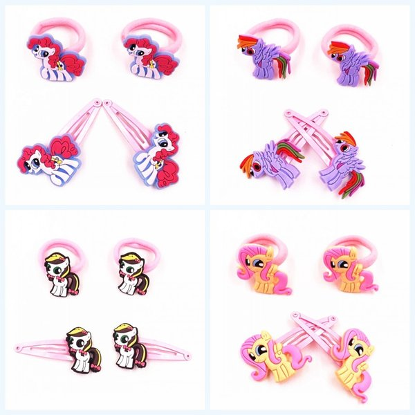 4Pcs Cute Girls My Little Horse Baoli Poni Kids Rubber Hairbands Hair accessories Elastic Hair Band Hairpins clip Headwear