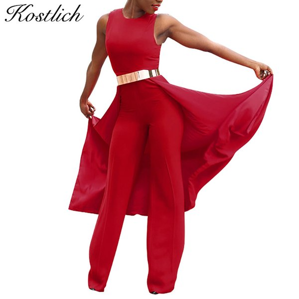 Kostlich Rompers Womens Jumpsuit 2017 New Sleeveless Personalized Cape Overalls For Women Red Jumpsuit Romper Long Pants Women