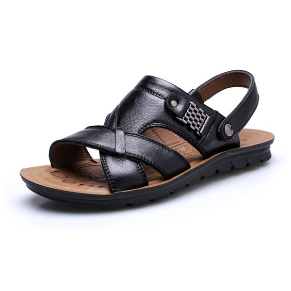Fashion Boutique leather men beach slippers outdoor fashion summer cool sandals for males
