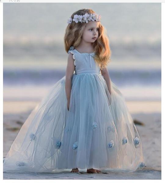 2018 Lovely light sky blue Flower Girl Dresses ball gown sleveless elegant Tulle Little Girls' Pageant Gowns custom made little girl dresses