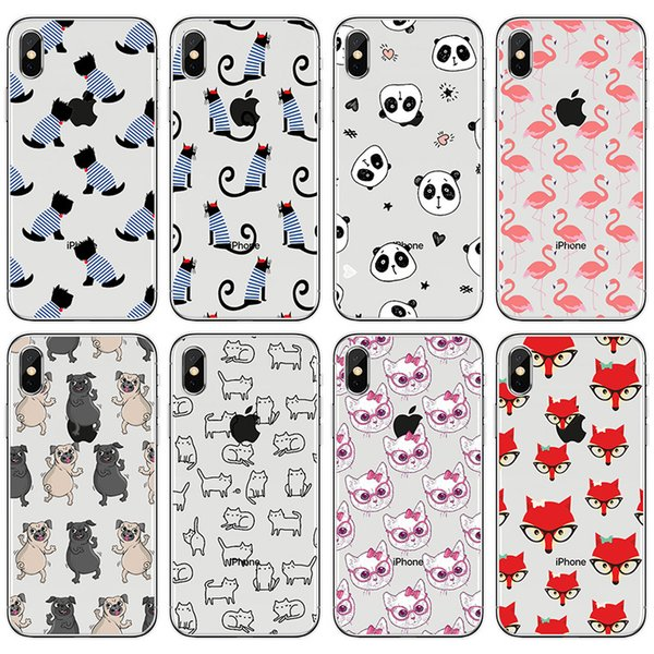 [TongTrade] Soft Silicone TPU For iPhone X 8 7 6s 5s Plus Cover Case Cartoon Animal Panda Transparent Galaxy S9 S8 S7 S6 Edge Plus Case