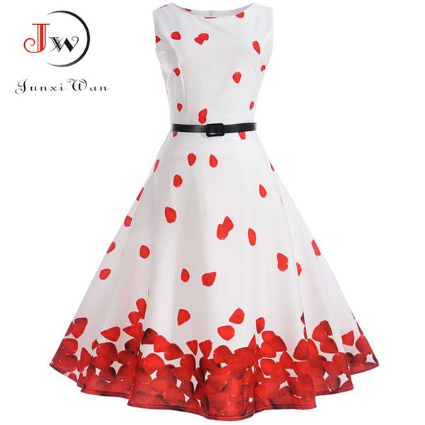 bafaf901cfeb4 2018 Women 50s 60s Retro Vintage Dress Summer Floral Print Rockabilly Swing  Robe Femme Vestidos Sexy Party Audrey Dresses With Belty1882302 From ...