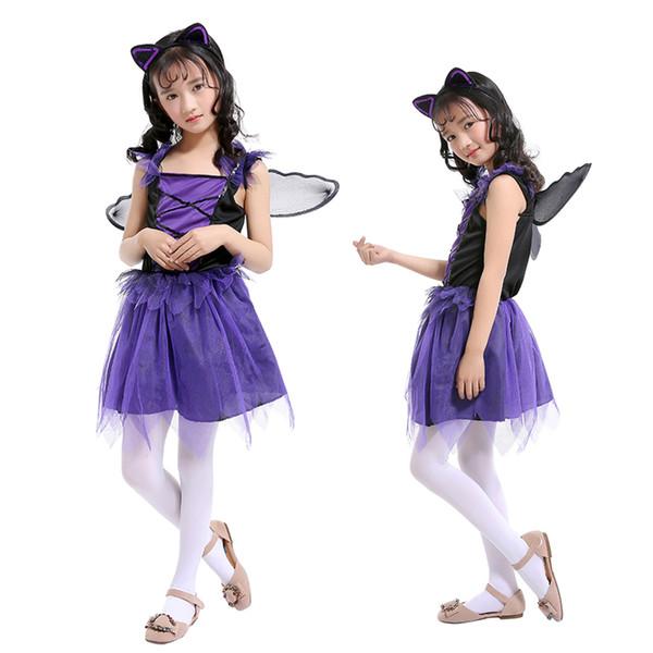 Purple Bat Fairy Long Princess Dress Suits with Ear Headband and Black Wing Girls Performance Dresses Xmas Dress Halloween Costume
