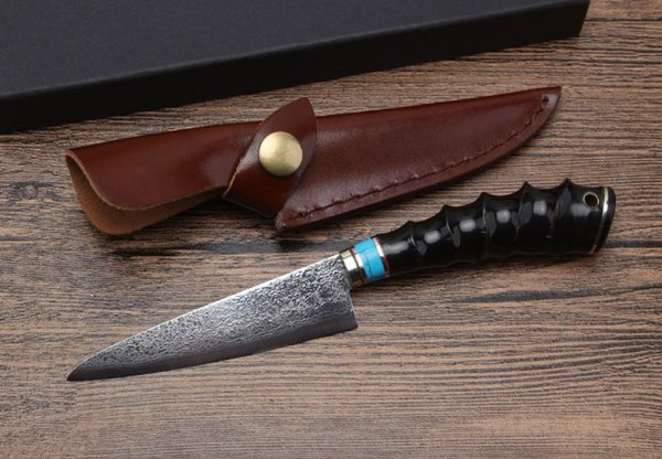 Hot Sale! Damascus Kitchen Knife VG10 Damscus Steel Blade Horn Handle Fixed Blade Straight Knives With Leather Sheath