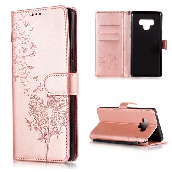 Emboss Butterfly Dandelion Leather Wallet Case For Galaxy Note 9 8 (J8 J7 J6 J4 J3 J2 Pro A6 A8)2018 S9 Plus Flip Cover Lotus Flower Lace
