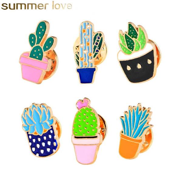 Neue kreative design pflanze kaktus vergossen brosche set tropfen öl abzeichen emaille brosche für pullover mantel schultasche großhandel