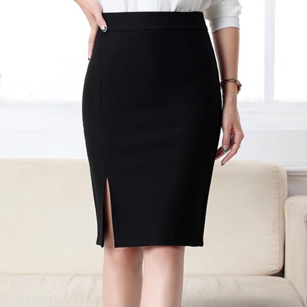 ff3706179 Compre Nuevo Lápiz Mujer Faldas Oficina De Trabajo Delgado Elegante Frente  Frontal Split Midi Falda Cintura Alta Bodycon OL Faldas De Moda Negro Gris  ...