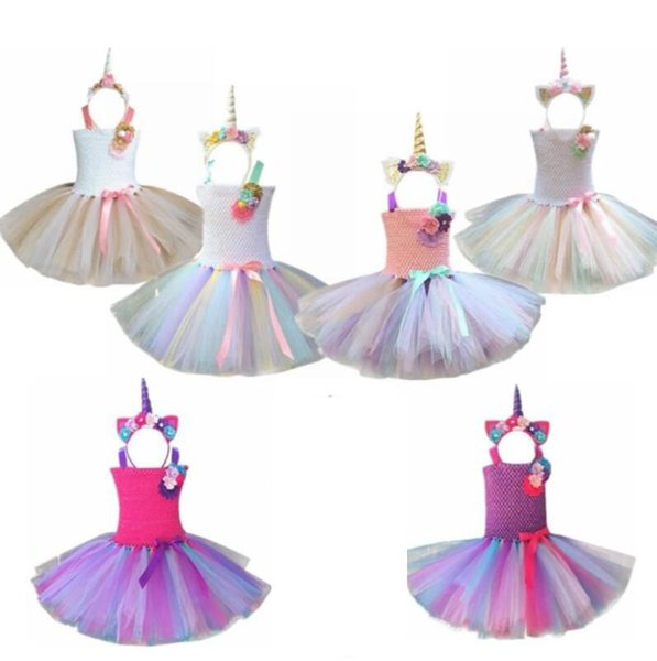 Kids Girls Outfit Tutu Dress Rainbow Party Princess Cosplay Costume Unicorn party Dress without hearband KKA4404