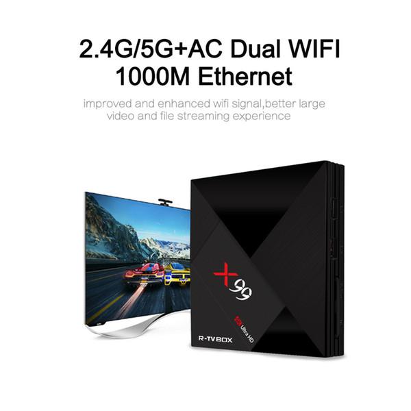 Android TV Box X99 4GB 32GB Rockchip RK3399 Six-core 5.0G dual band WiFi Bluetooth H.265 4K 1000M LAN USB3.0 Type-C Smart TV Media player