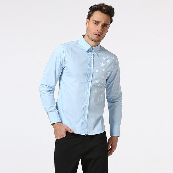 2018 New Mens spring Shirt Male Casual camisa masculina Printed Beach Shirts Long sleeves brand clothing Asian Size 2XL D18102302