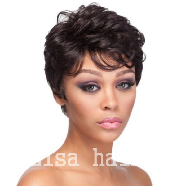 Short Human Hair Wig Indian Hair Short Cut bob wigs For Black Women Lace Wigs With Bangs Human Hair Pixie Wigs