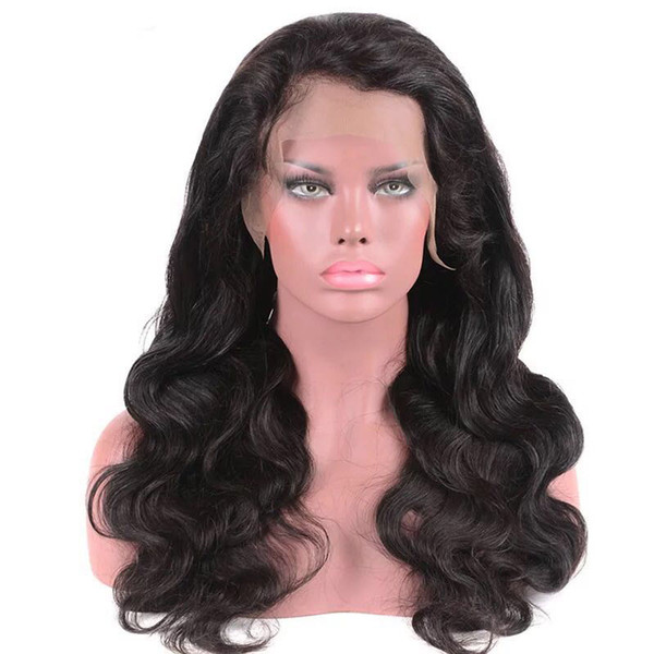 Lace Front Wig Long Body Wave Brazilian Virgin Hair Full Lace Wigs For Any Style Human Hair Natural Color