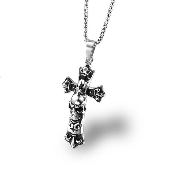 Men Stainless Steel Hip Hop Jewelry Cross Pendant Necklace Skeleton Design 60cm Chain Punk Fashion Men Necklace Gifts For Men