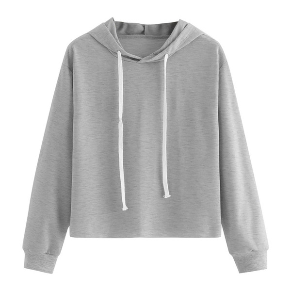 616b65480ef5 FeiTong Simple Pullovers For Ladies New Arrival Autumn Womens Plain Grey  Long Sleeve Hooded Crop Sweatshirt