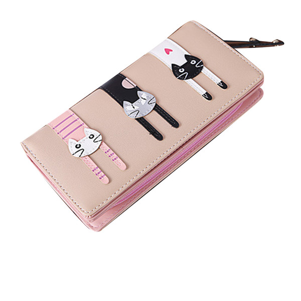 Women PU Leather Cartoon Animal Cat Wallet Bifold Long Purses Zipper Wallet