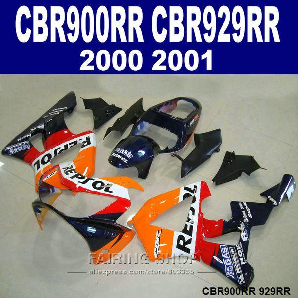 Carenados 7gifts para Honda CBR900RR CBR929 2000 2001 kit de carenado rojo negro CBR929RR00 01 VC12