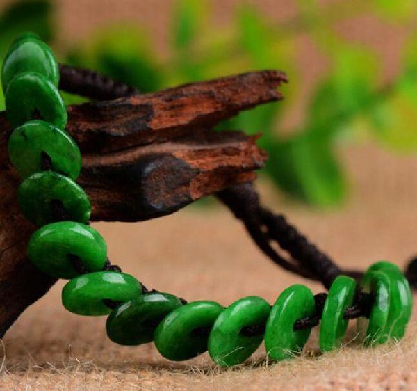 Natural Burmese Jade Dry Green Peace Buckle Bracelet Men and Women Couples Yang Green Emerald Bracelet Mini Button