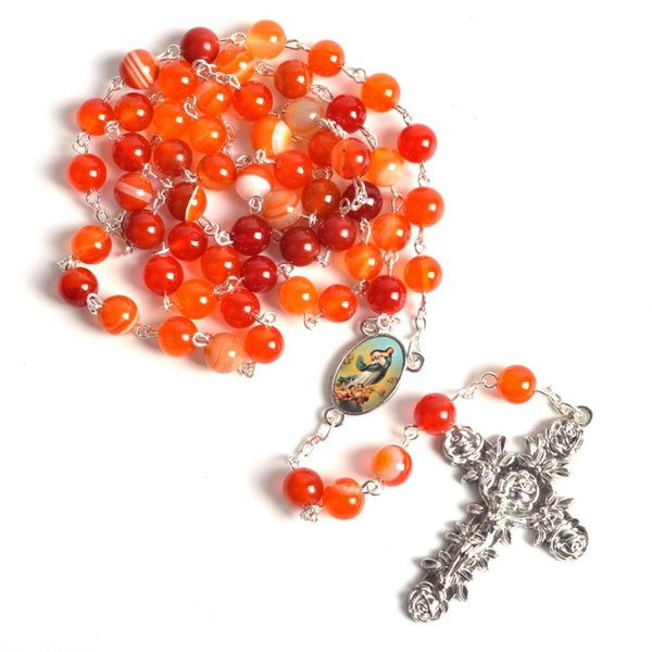 Collier Rond Chapelet Perles De Pierre Orange Fashion Centre de Conception Immaculée