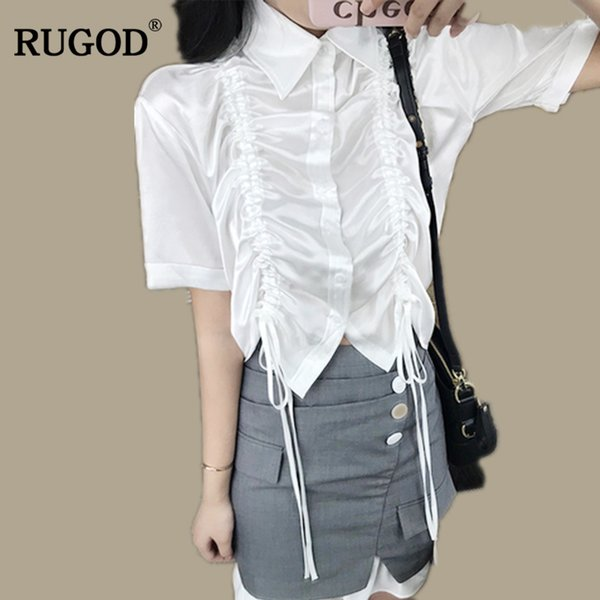 RUGOD 2018 Newest Office Lady Sweetie Suits 2 two Piece Set For Women Irregualr Satin Fold Shirt and Ruffle Skirt Suit Tracksuit