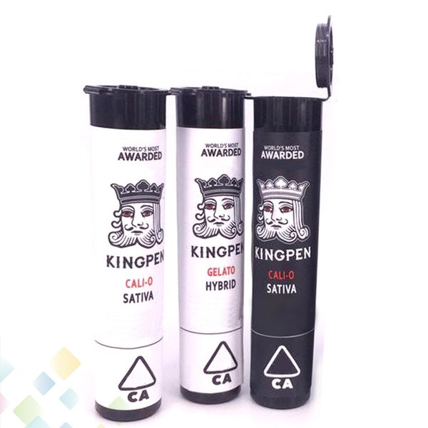 Kingpen Plastic Pope Tube with different flavors Stickers Set King Pen Thick oil Atomizer Cartridge Packaging Tube DHL Free